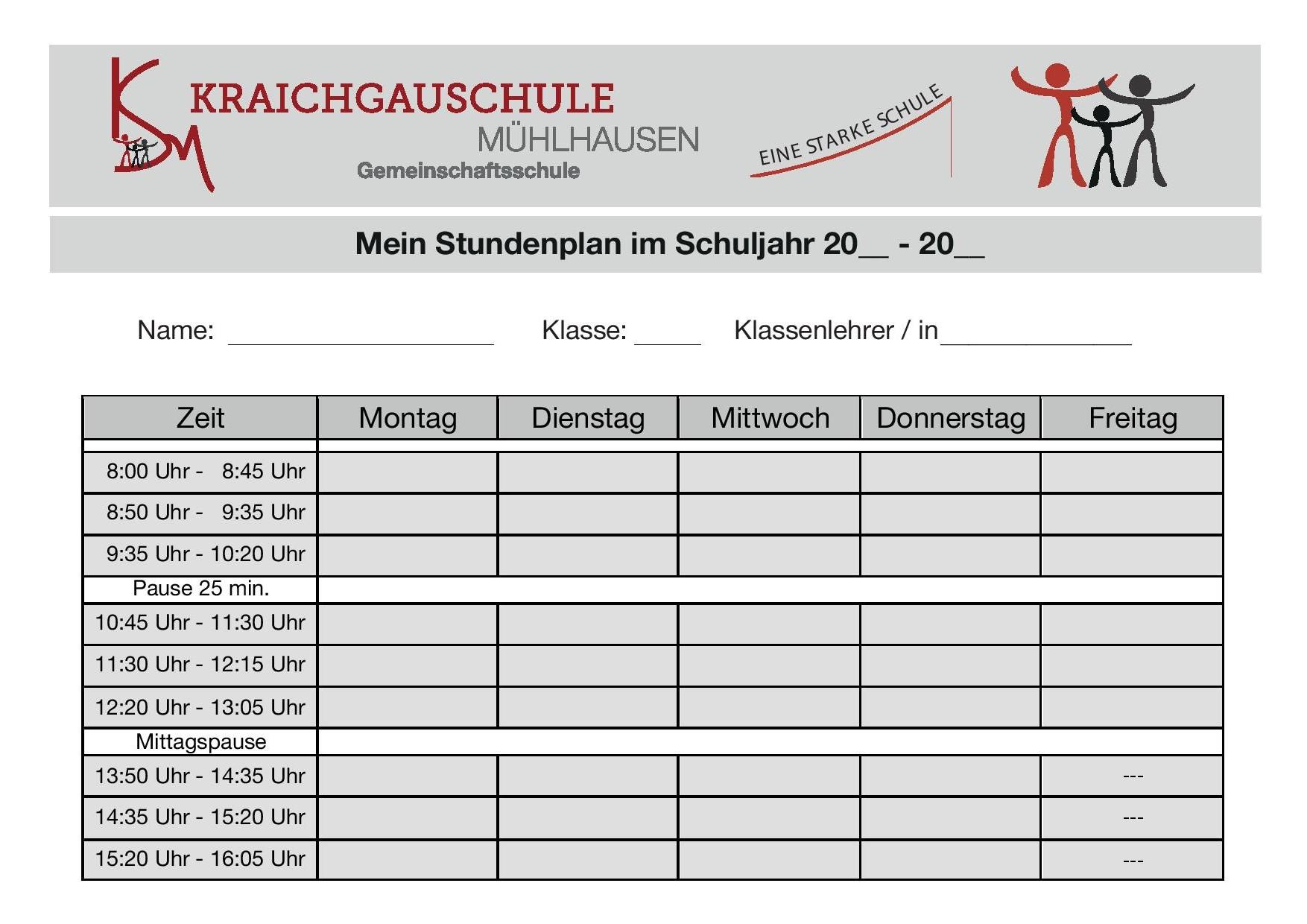 Stundenplan - Kraichgauschule Mühlhausen